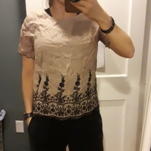 Jcrew 100% linen top with embroidery